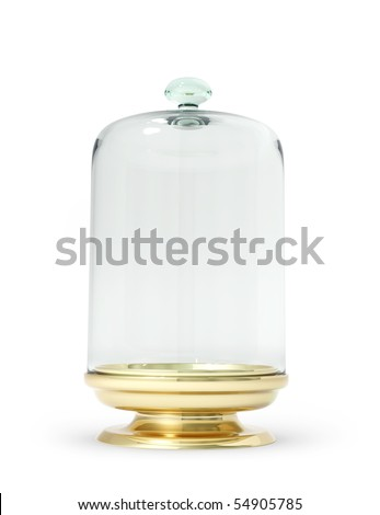 Gold stand with glass bell 3d model - stock photo