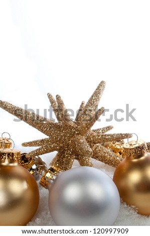 gold star and ornaments on white background - stock photo
