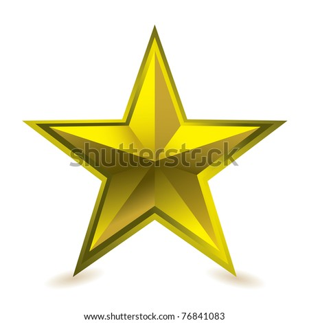 Gold star award ideal gift icon for golden performance - stock photo
