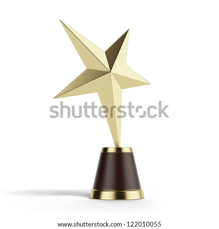 Gold Star Award isolated on a white background - stock photo