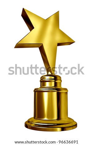 Gold Star Award on a blank metal trophy isolated on white representing a golden first place prize as an icon of success and achievement, of a sports or entertainment competition. - stock photo