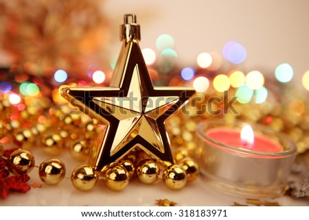Gold Star candle - stock photo