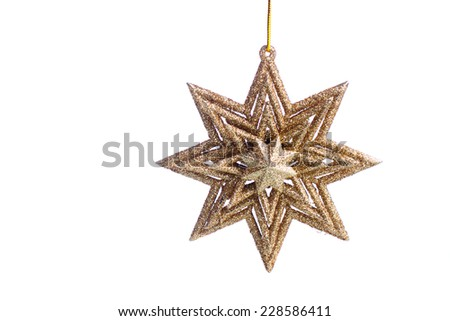 Gold star, christmas decoration isolated over white - stock photo