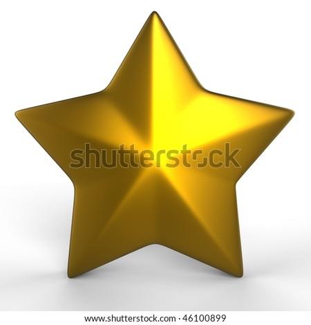 gold star - 3d render - stock photo