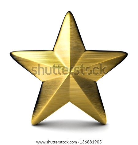 Gold star (done in 3d) - stock photo