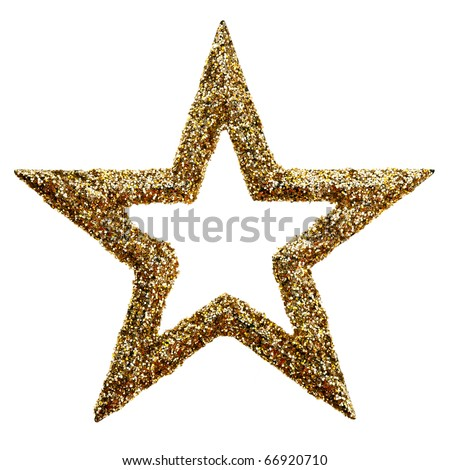 Gold star for Christmas. isolated on white - stock photo