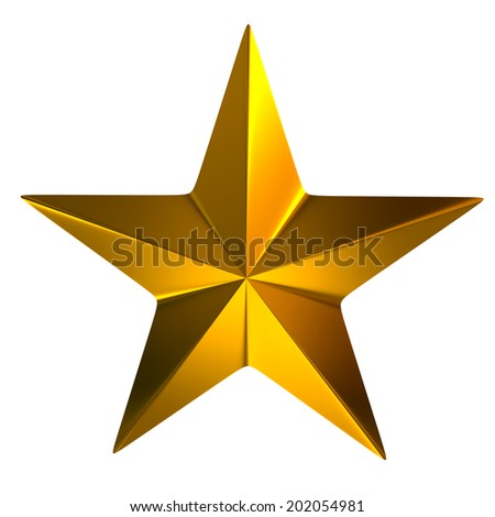 Gold star isolated on white background - stock photo