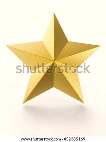 Gold star isolated on white background. 3D rendering image. - stock photo