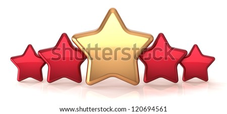 Gold star leadership inside red stars award success decoration. Best competition top excellent quality business service rating trophy icon concept. Detailed 3d rendering. Isolated on white background - stock photo