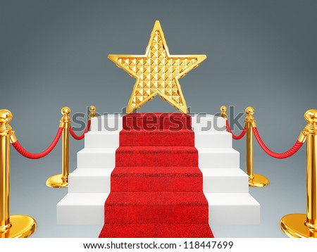 gold star on a red carpet. 3d image - stock photo