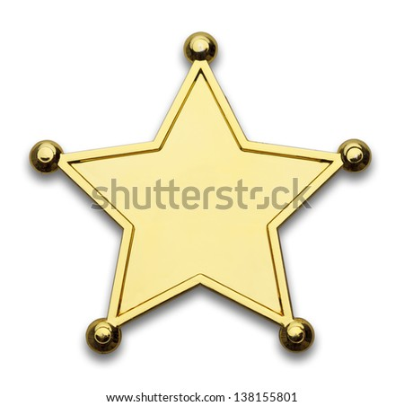 Gold Star Police Badge Isolated on White Background. - stock photo