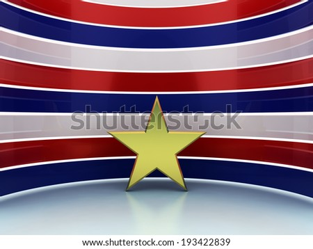 Gold star red blue white