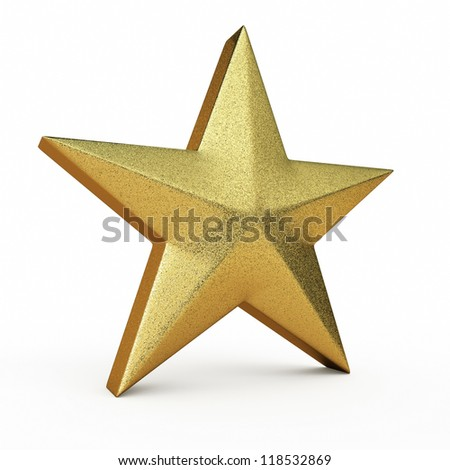 Gold Star render (isolated on white and clipping path) - stock photo
