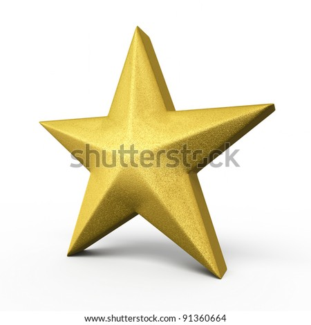 Gold Star render (isolated on white and clipping path)