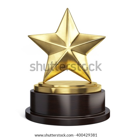 Gold star trophy award isolated on white. 3d rendering - stock photo
