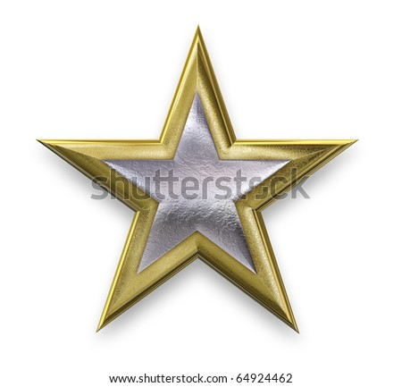 Gold star with a silver inner star - stock photo