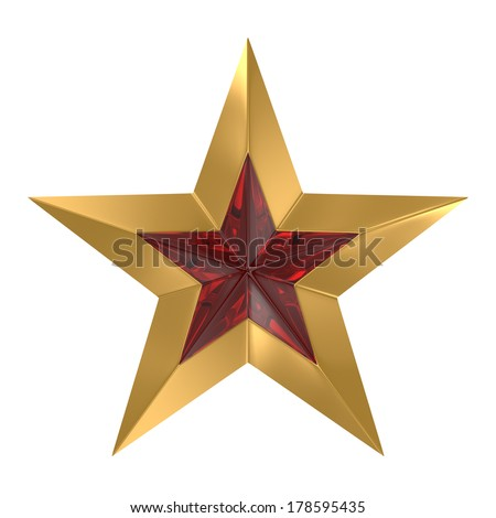 Gold star with red glass insert. Isolated on white