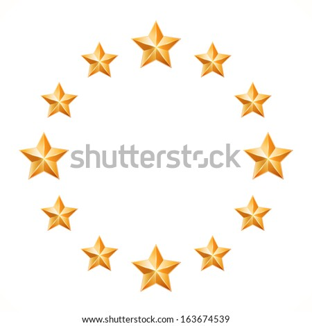 Gold stars located on a circle isolated on white background.Design elements - stock photo