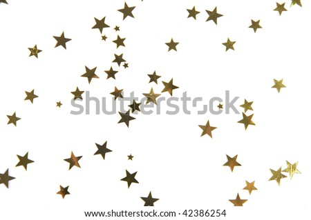Gold stars on a white background. - stock photo