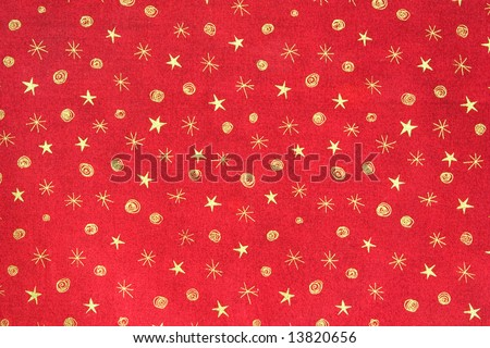 Gold Stars on Red Background Holiday Pattern - stock photo