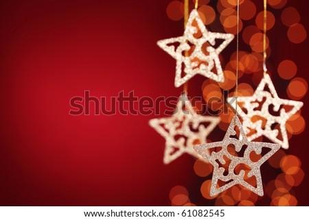 Gold stars  over festive  background - stock photo