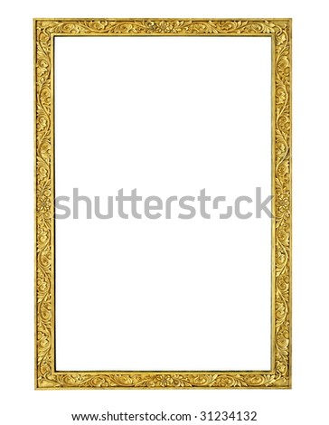gold stone frame isolated with clipping path - stock photo