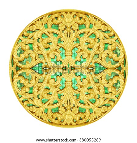 Gold Stucco design of native thai style antique flower on white background - stock photo