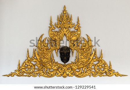 gold stucco Thai style on a white background.
