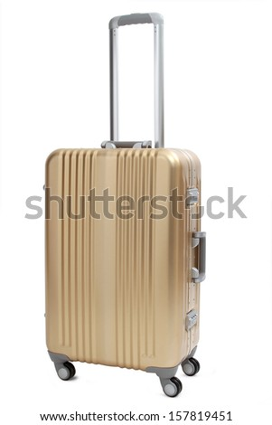gold suitcase isolated on white - stock photo