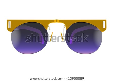 Gold sunglasses isolated on white background. With clipping path. 3D render - stock photo