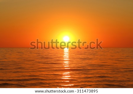 Gold sunset above the sea