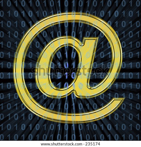 Gold @ symbol on black background, with blue binary code. - stock photo