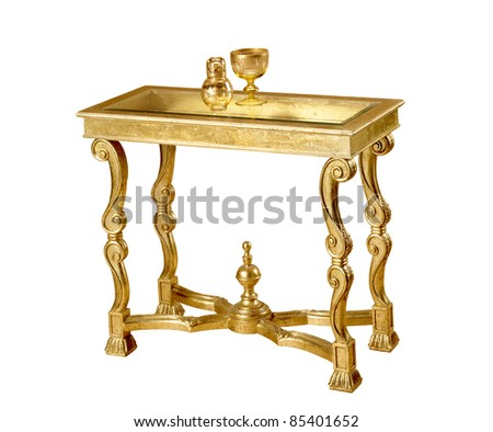 gold  table - stock photo