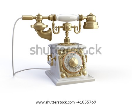 gold telephone on the white