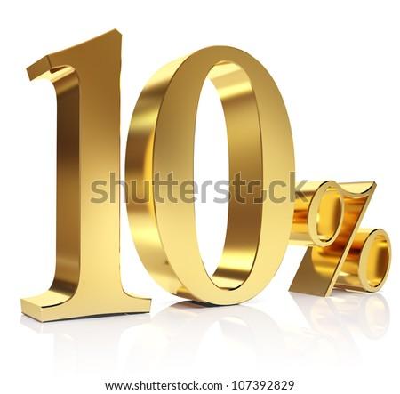 Gold ten percent discount symbol - stock photo