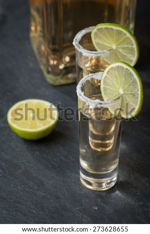 Gold Tequila in Shot Glasses with Lime and Salt on black background - stock photo
