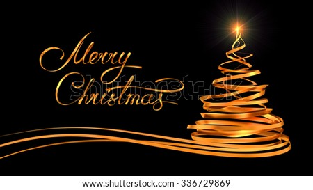 Gold Text Design Of Merry Christmas And Christmas Tree From Gold Tapes Over Black Background. 3D Scene.