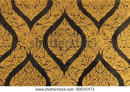 gold texture at Wat Phra Kaew,Temple of the Emerald, Bangkok, Thailand - stock photo