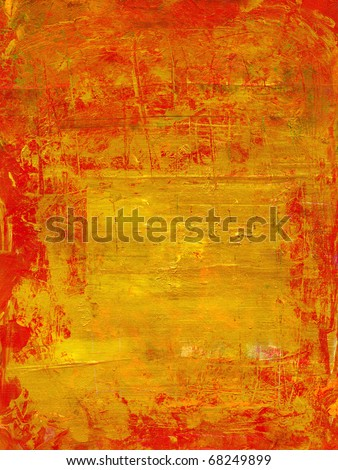 gold texture with the red cracked varnish surface - stock photo