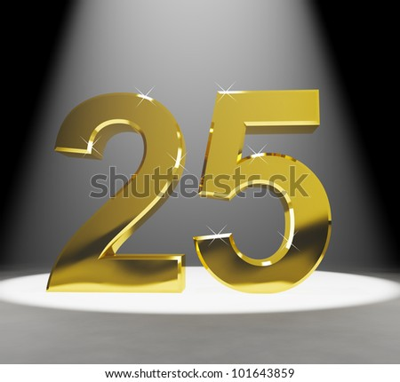 Gold 25th 3d Number Closeup Representing Anniversary Or Birthdays - stock photo