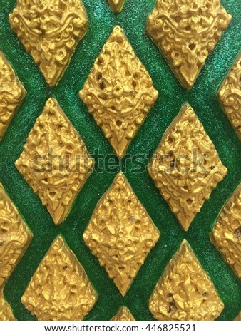 Gold Thai art of sculpture pattern in Thailand. - stock photo