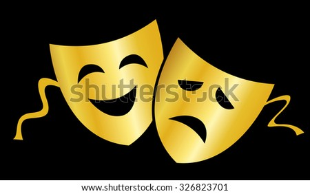 Gold theatrical masks silhouette representing theater comedy and drama isolated over black background  - stock photo