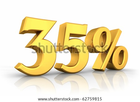 Gold thirty five percent, isolated on white background. 35%