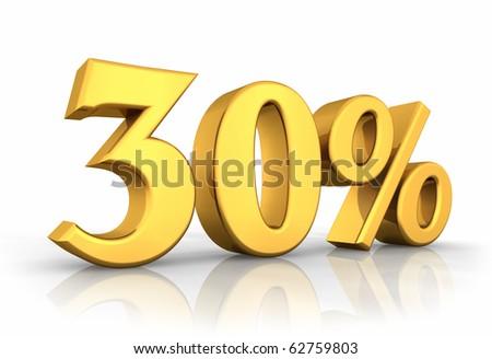 Gold thirty percent, isolated on white background. 30% - stock photo