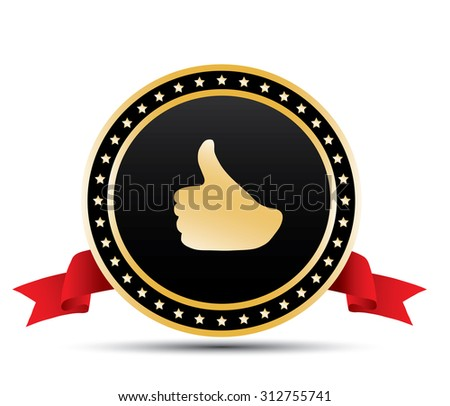 Gold thumbs sign - stock photo