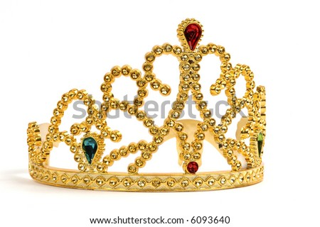Gold tiara studded with jewels and diamonds.
