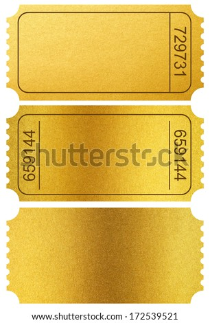 Gold tickets stubs isolated on white with clipping path included - stock photo