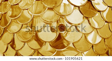 Gold tiles background with a circle elements. - stock photo