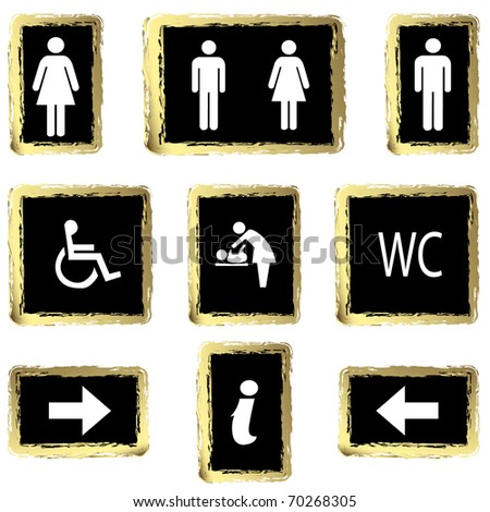 gold toilette sign