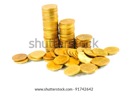 Gold towers isolated on white - stock photo